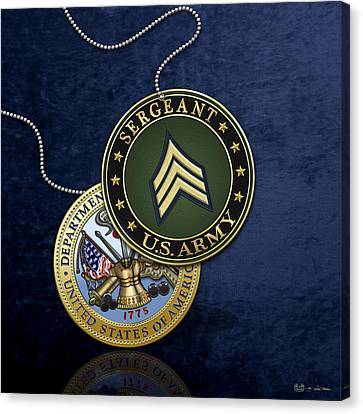 U. S. Army Sergeant - S G T Rank Insignia And Army Seal Over Blue Velvet Canvas Print