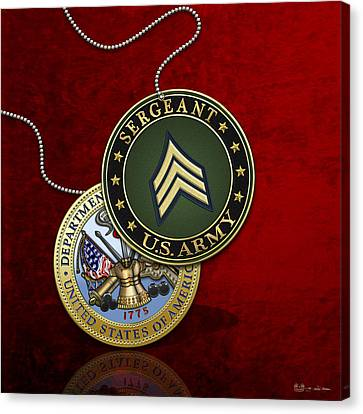 U. S. Army Sergeant - S G T Rank Insignia And Army Seal Over Red Velvet Canvas Print