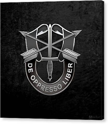 U. S.  Army Special Forces  -  Green Berets D U I Over Black Velvet Canvas Print