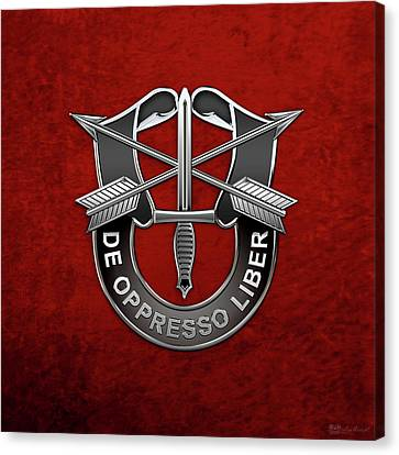 U. S.  Army Special Forces  -  Green Berets D U I Over Red Velvet Canvas Print