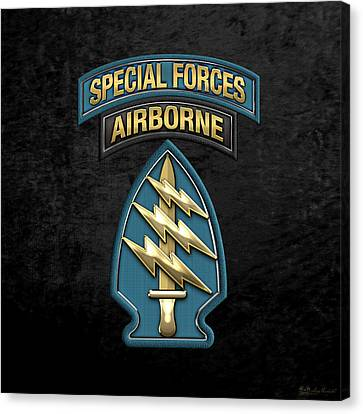 U. S.  Army Special Forces  -  Green Berets S S I Over Black Velvet Canvas Print