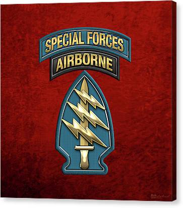 U. S.  Army Special Forces  -  Green Berets S S I Over Red Velvet Canvas Print