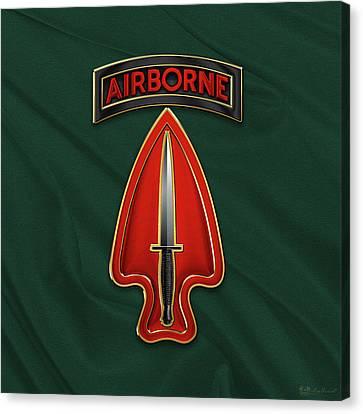 U. S.  Army Special Operations Command  -  U S A S O C    C S I B Over Green Berets Felt Canvas Print