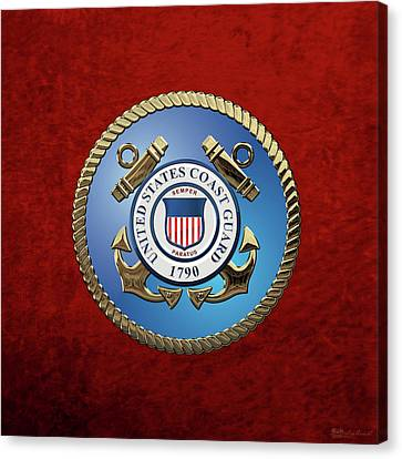 Canvas Print featuring the digital art U. S. Coast Guard - U S C G Emblem by Serge Averbukh