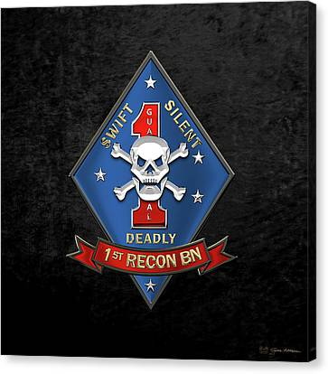 Canvas Print featuring the digital art U S M C  1st Reconnaissance Battalion -  1st Recon Bn Insignia Over Black Velvet by Serge Averbukh