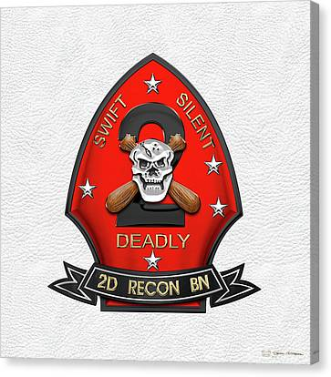 Canvas Print featuring the digital art U S M C  2nd Reconnaissance Battalion -  2nd Recon Bn Insignia Over White Leather by Serge Averbukh