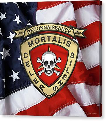 3rd Corps Canvas Print - U S M C  3rd Reconnaissance Battalion -  3rd Recon Bn Insignia Over American Flag by Serge Averbukh