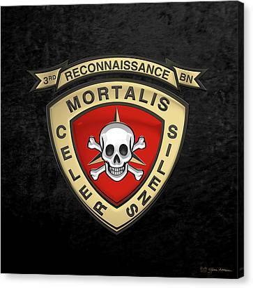 3rd Corps Canvas Print - U S M C  3rd Reconnaissance Battalion -  3rd Recon Bn Insignia Over Black Velvet by Serge Averbukh