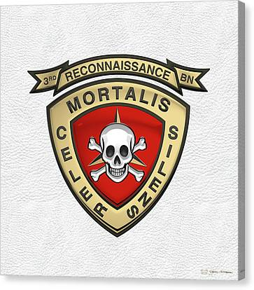 3rd Corps Canvas Print - U S M C  3rd Reconnaissance Battalion -  3rd Recon Bn Insignia Over White Leather by Serge Averbukh