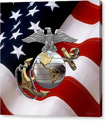 Canvas Print featuring the digital art U S M C Eagle Globe And Anchor - C O And Warrant Officer E G A Over U. S. Flag by Serge Averbukh