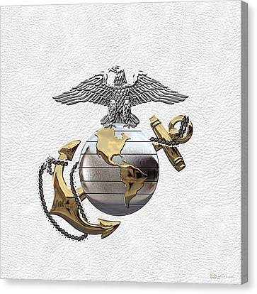 Canvas Print featuring the digital art U S M C Eagle Globe And Anchor - C O And Warrant Officer E G A Over White Leather by Serge Averbukh