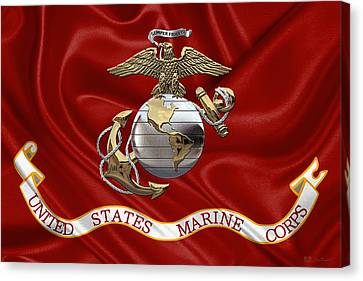 U. S.  Marine Corps - U S M C Eagle Globe And Anchor Over Corps Flag Canvas Print by Serge Averbukh