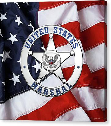 U. S. Marshals Service  -  U S M S  Badge Over American Flag Canvas Print