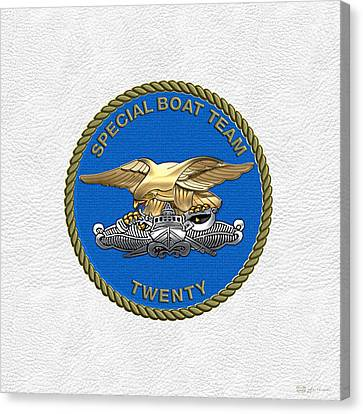 Canvas Print featuring the digital art U. S. Navy S W C C - Special Boat Team 20   -  S B T 20   Patch Over White Leather by Serge Averbukh
