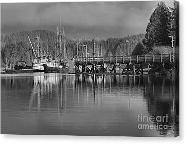 Ucluelet Fishing Trawlers In Black And White Canvas Print by Adam Jewell