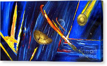Canvas Print featuring the painting UFO by Arturas Slapsys