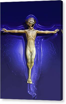 Crucifix Art Canvas Print - Holy Ufo by Joaquin Abella