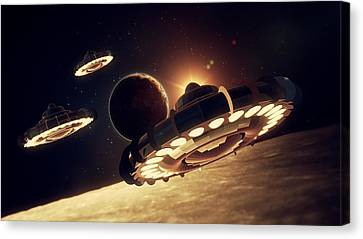 Ufo Invasion Force By Raphael Terra Canvas Print