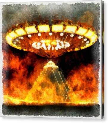 Ufo Mayans Canvas Print by Esoterica Art Agency