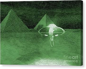 Bizarre Canvas Print - Ufo Near Pyramids by Raphael Terra
