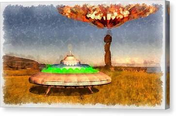 Ufo On Easter Island Canvas Print by Esoterica Art Agency