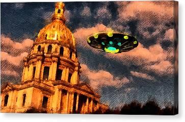 Ufo Over Paris Canvas Print by Raphael Terra
