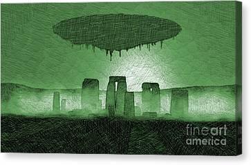 Bizarre Canvas Print - Ufo Over Stonehenge by Raphael Terra