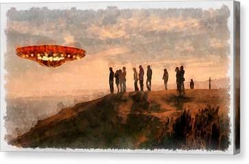 Ufo Spotting Canvas Print by Esoterica Art Agency