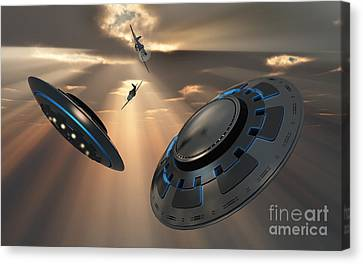 Ufos And Fighter Planes In The Skies Canvas Print by Mark Stevenson