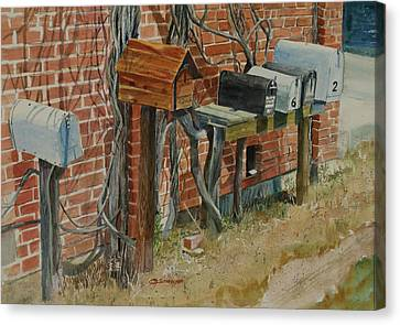 Uhland Mailboxes Canvas Print by E M Sutherland