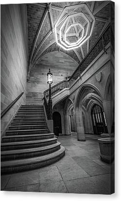 Saieh Hall Staircase At Uic Canvas Print by Mike Burgquist