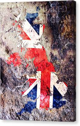 Uk Flag Map Canvas Print by Michael Tompsett