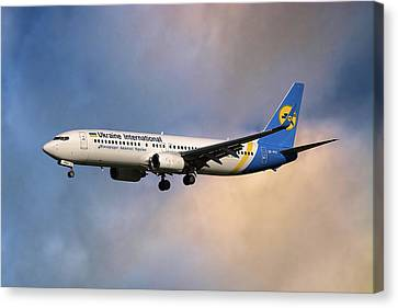 Airlines Canvas Print - Ukraine International Airlines Boeing 737-8eh by Nichola Denny