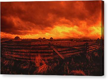 Ultra Wide Angle Orange Storm Clouds Landscape Canvas Print by Jerry Voss