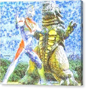 Dinosaur Canvas Print - Ultraman Fighting - Da by Leonardo Digenio