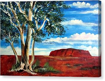 Canvas Print featuring the painting Uluru Ayers Rock by Roberto Gagliardi