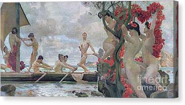 Ulysses And The Sirens Canvas Print by Otto Greiner