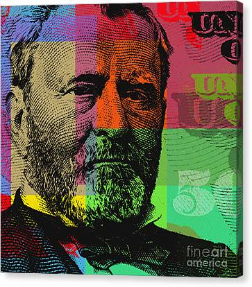 Canvas Print featuring the digital art Ulysses S. Grant - $50 Bill by Jean luc Comperat