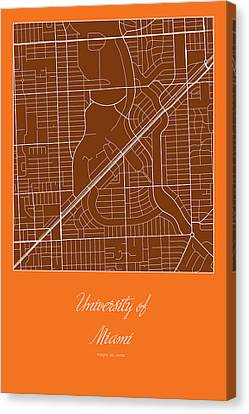 Um Street Map - University Of Miami In Miami Map Canvas Print by Jurq Studio