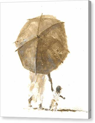 Umbrella And Child One Canvas Print