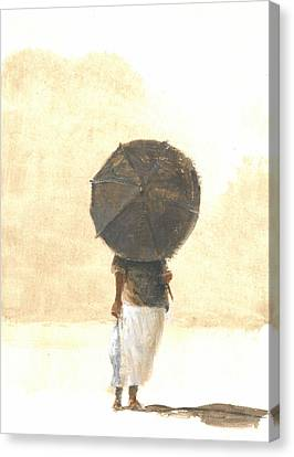 Casting Canvas Print - Umbrella And Fish Two by Lincoln Seligman