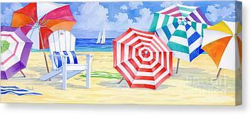 Umbrella Beach Canvas Print by Paul Brent