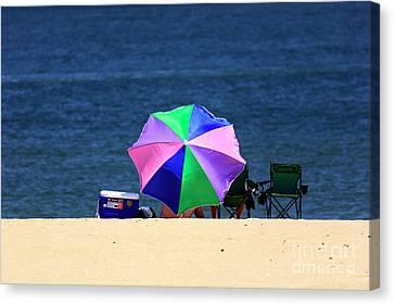 Canvas Print - Umbrella Colors At Asbury Park by John Rizzuto