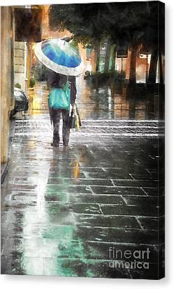 Umbrella Seller Canvas Print by HD Connelly