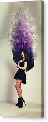 Modern Digital Art Digital Art Canvas Print - Umbrella by Nichola Denny