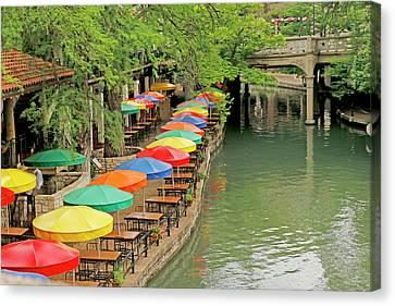 Umbrellas Along River Walk - San Antonio Canvas Print