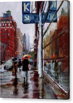 Umbrellas On Amsterdam Aveune Canvas Print by Peter Salwen