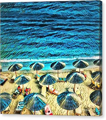 Umbrellas On The Beach Canvas Print by Amy Cicconi