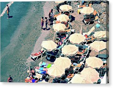Umbrellas On The Beach - Nerja Canvas Print by Mary Machare