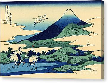 Stork Canvas Print - Umegawa In Sagami Province, One Of Thirty Six Views Of Mount Fuji by Hokusai